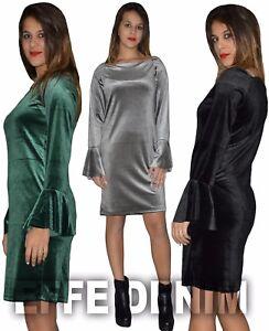 timeless design 83a97 08ff7 Dettagli su Vestito Donna Velluto Abito Manica Lunga Miniabito ciniglia  Giromanica ruota 258