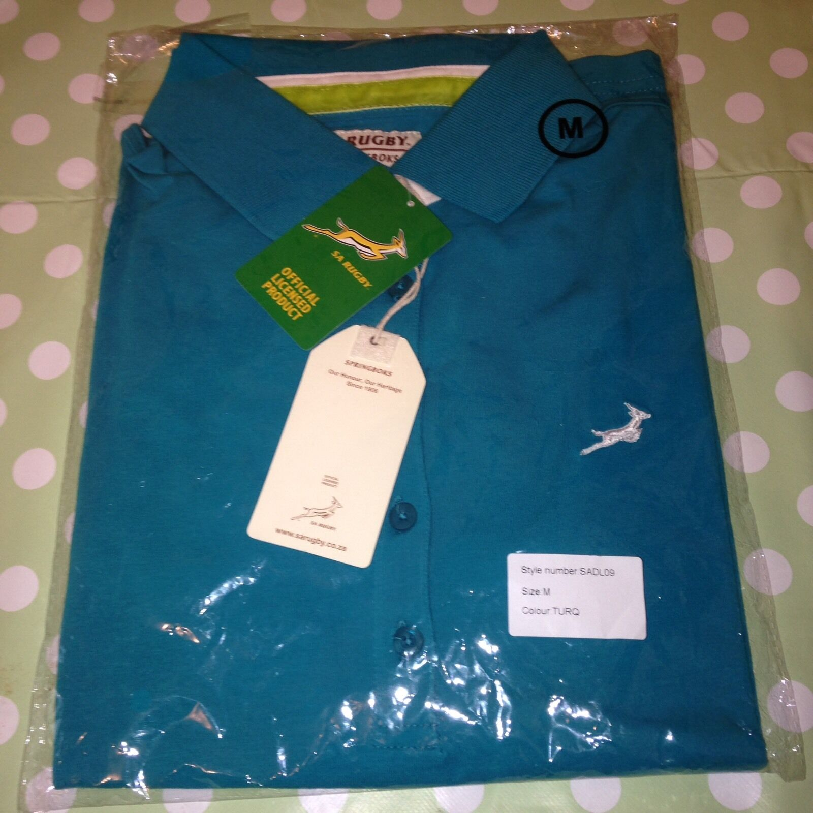 Turquoise South Africa Springbok Rugby Polo Shirt   Top Style SADL09 Medium New