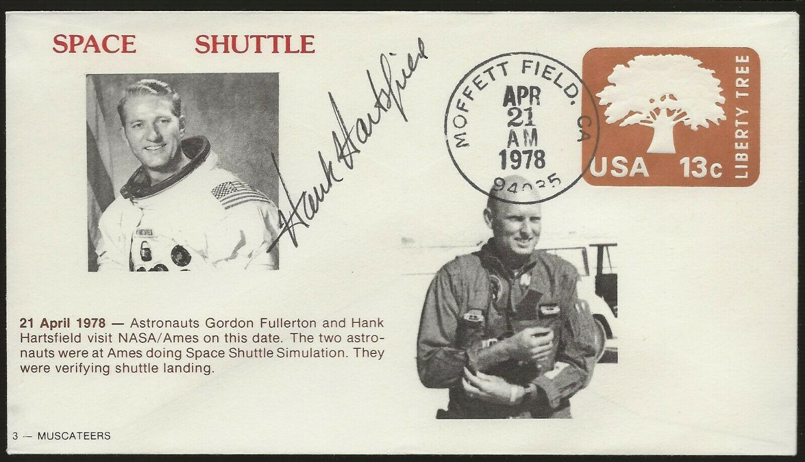 s l1600 - 1978 Space Shuttle Cover Autographed by Astronaut Hank Hartsfield
