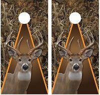 Whitetail Buck Deer Grassland Camouflage (brown) Cornhole Board Decal Wrap Wraps