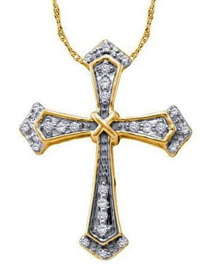 0.50ct NATURAL DIAMOND 14K SOLID WHITE YELLOW gold ANNIVERSARY CROSS PENDANT