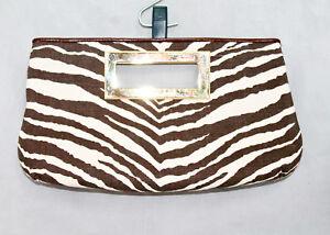 MICHAEL-KORS-Berkley-Beige-amp-Brown-Canvas-Zebra-Print-Clutch-Handbag-Purse