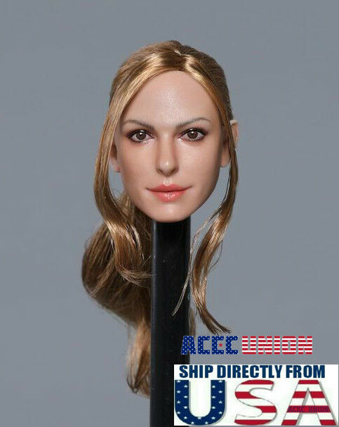 "1//6 American Female Head Sculpt Brown Hair For 12/"" Hot Toys PHICEN Figure USA"