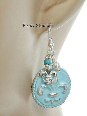Silver Blue Fleur De Lis Charm Dangle Fish Hook Earrings Womens Jewelry NEW 8-5