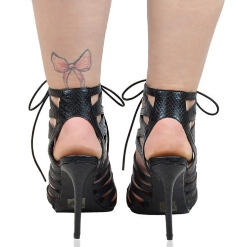 Womens Lace Up High Heel Sandal Ladies Ghillie Stiletto Cut Out Strappy Shoes