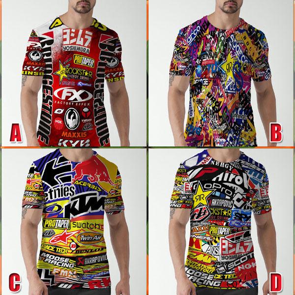 Racing Tshirt MX Stickerbomb Motocross Xtreme Bike Tee New Women/'s T-Shirt