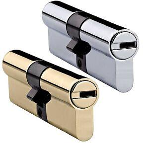 UPVC-Euro-Cylinder-ANTI-DRILL-aluminium-Door-LOCK-Barrel-BRASS-or-NICKEL-Finish