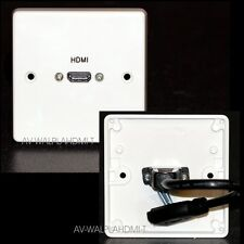 AV Wall Plate, 1 Gang, HDMI Socket with flex-tail, v2.0 ready HD 2k4k + Ethernet