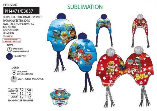 NUOVO Ragazzo PAW PATROL pronto per l/'azione Cappello Invernale Bobble Cappello da 3 a 8 anni IDEA REGALO