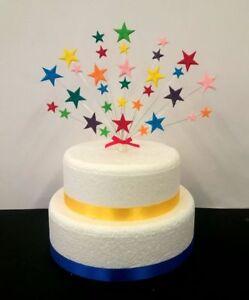 Stupendous Rainbow Stars Birthday Christening Cake Topper Decoration Personalised Birthday Cards Veneteletsinfo