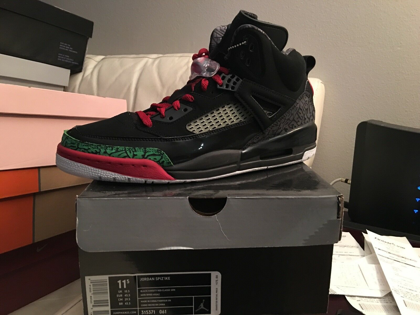 air jordan spizike black red dead and green size 11.5 dead red stock fab11a