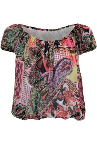 Ladies Multicolour Paisley Plain Chiffon Off Shoulder Semi Sheer Bardot Blouse