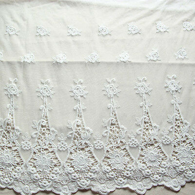 """White Cotton Lace Fabric Floral Rosebush Embroidered DIY Dress Fabric 47"""" 1 Yard"""