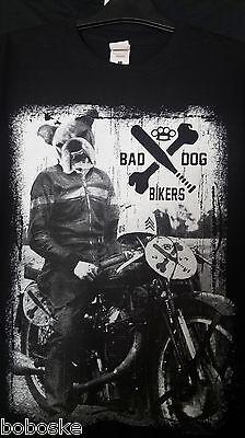"""T-shirt Manche,coupe Homme,100% Coton """"bad Dogs Biker"""" Double-face"""