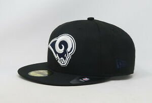 New-Era-59Fifty-Hat-Mens-NFL-Los-Angeles-Rams-Black-White-Custom-Fitted-Cap-5950