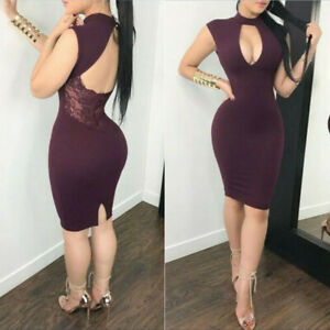 Women-Bodycon-Sleeveless-Party-Evening-Cocktail-Sexy-Lace-Short-US-Hollow-Dress