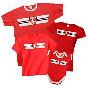 buy online bc275 121e9 Details about DENMARK Patriotic Fan Kit Retro Strip T-Shirt Football MENS  LADIES KIDS BABY