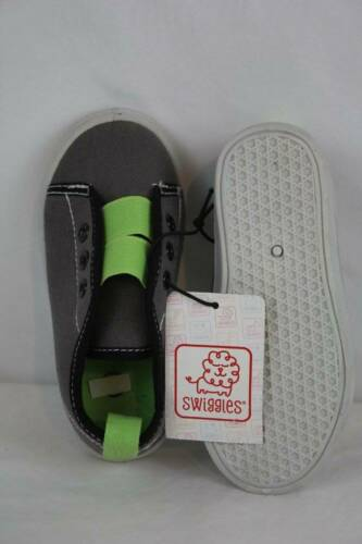 NEW Toddler Boys Tennis Shoes Size 5 Gray Green Canvas Sneakers Slip On