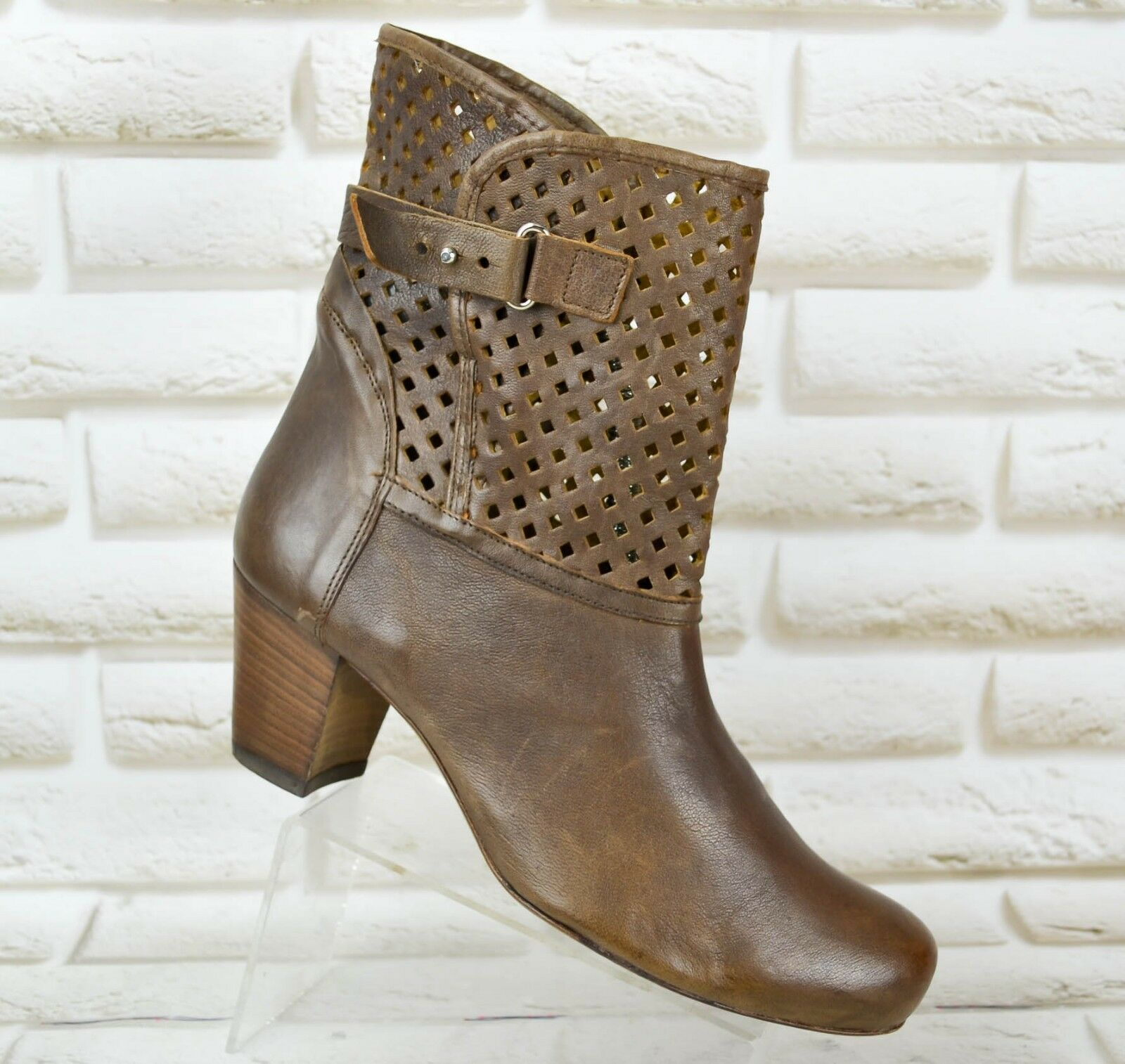ALBERTO FERMANI Leather Womens Ankle Heeled Boots Shoes 38 Booties Size 5 UK 38 Shoes EU 2594de