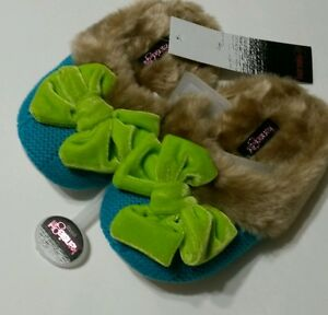 c1251a0164fa NWT Kensie Girl s Slippers Tan Faux Fur Green Bow Soft Sole Size SZ ...