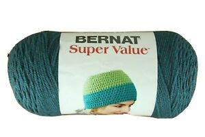 Bernat-Super-Value-Lot-of-2-Skeins-TEAL-HEATHER-7-oz-each-Acrylic-No-Dye-Lot-J