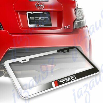 For TOYOTA TRD Black Stainless Steel Rust Free License Plate Frame W// Caps Bolts