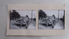 1950s B/W Photograph. Man Sitting on Car Bumper/ Fender. Opel Kapitan