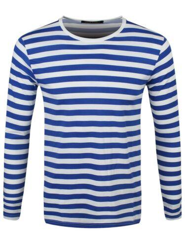 T-shirt rayé bleu royal et blanc à manches longues homme