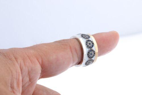 Turkish Bijoux Émail Blanc Oeil maléfique sapphire topaz Sterling Silver Ring TOUTES LES TAILLES
