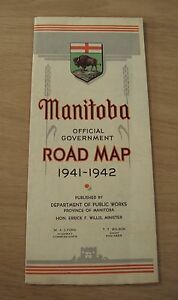 "1941-42 OFFICIAL Government ""MANITOBA"" ROAD MAP~Canada~Dept Public Works~"