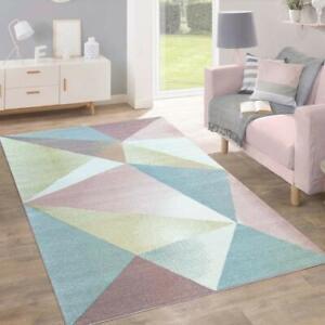 Salle-De-Sejour-Tapis-Moderne-Tapis-Multi-Zone-Floor-Soft-Chambre-Geometrique-Rose-Tapis