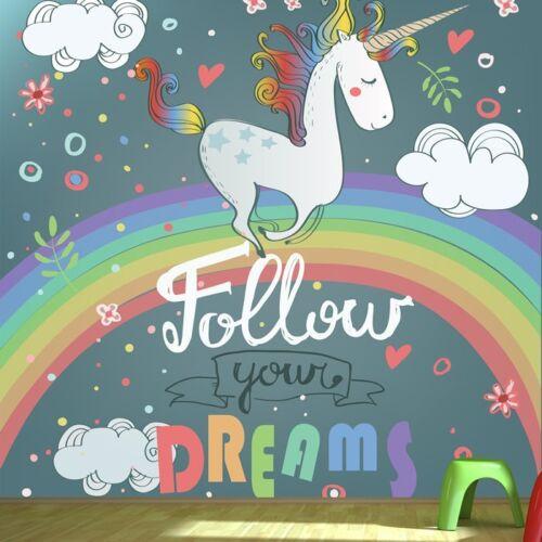 Einhorn Regenbogen Fototapete Folge deinen Träumen Tapete Mädchen Wohnkultur
