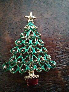 #VINTAGE Green Looped TREE Christmas Pin Brooch