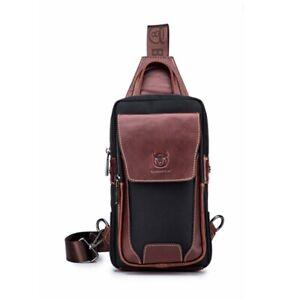 Men-Women-Sling-Bag-Genuine-Leather-Chest-Shoulder-Backpack-Travel-Sport-Vintage