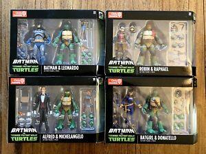 Batman-vs-TMNT-Figures-Lot-Of-4-Sets-New-NIB-Leo-Donnie-Raph-Mikey-DC-Gamestop