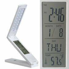 LED BULB Folding Dimmable Desk Lamp Light Rechargeable Reading with ALARM CLOCK