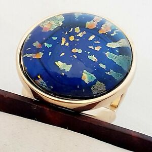 WOW-Large-Statement-Vintage-1950s-CZECH-BLUE-Glass-Fire-Opal-Gold-Ring-Size-O