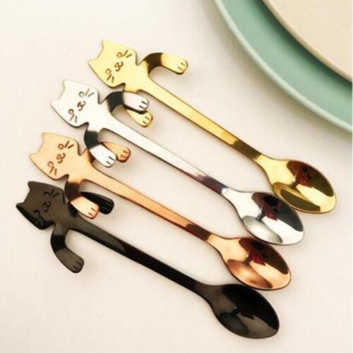 Stainless Steel Coffee Tea Spoon Cat Drinking Kitchen Gadget Flatware Silverware
