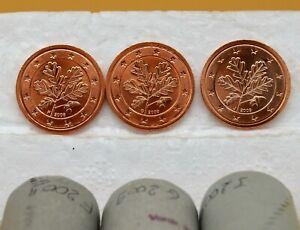 ALLEMAGNE 2009  : 3 pièces de 2 cent de rouleaux. Ateliers F, G et J