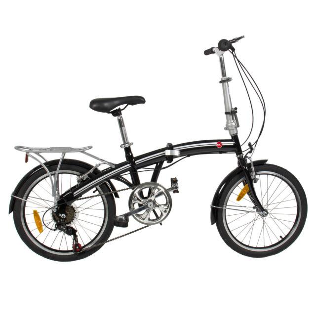 "Folding Bike 20"" Shimano 6 Speed Bike Fold Storage Black College School Black"
