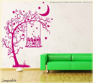 wandtattoo baum eule herzen kinderzimmer blumen tree wandtatoo spr che 550 ebay. Black Bedroom Furniture Sets. Home Design Ideas