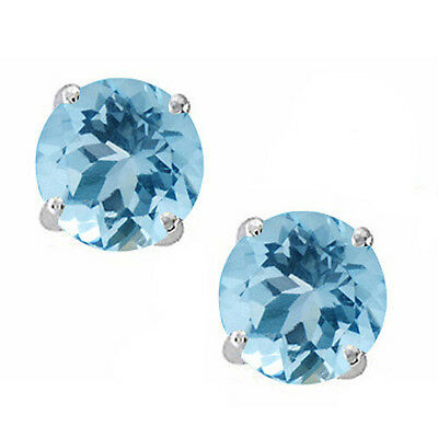 14K Solid White Gold March Aquamarine Round Shape Stud w/ Screw Back Earring