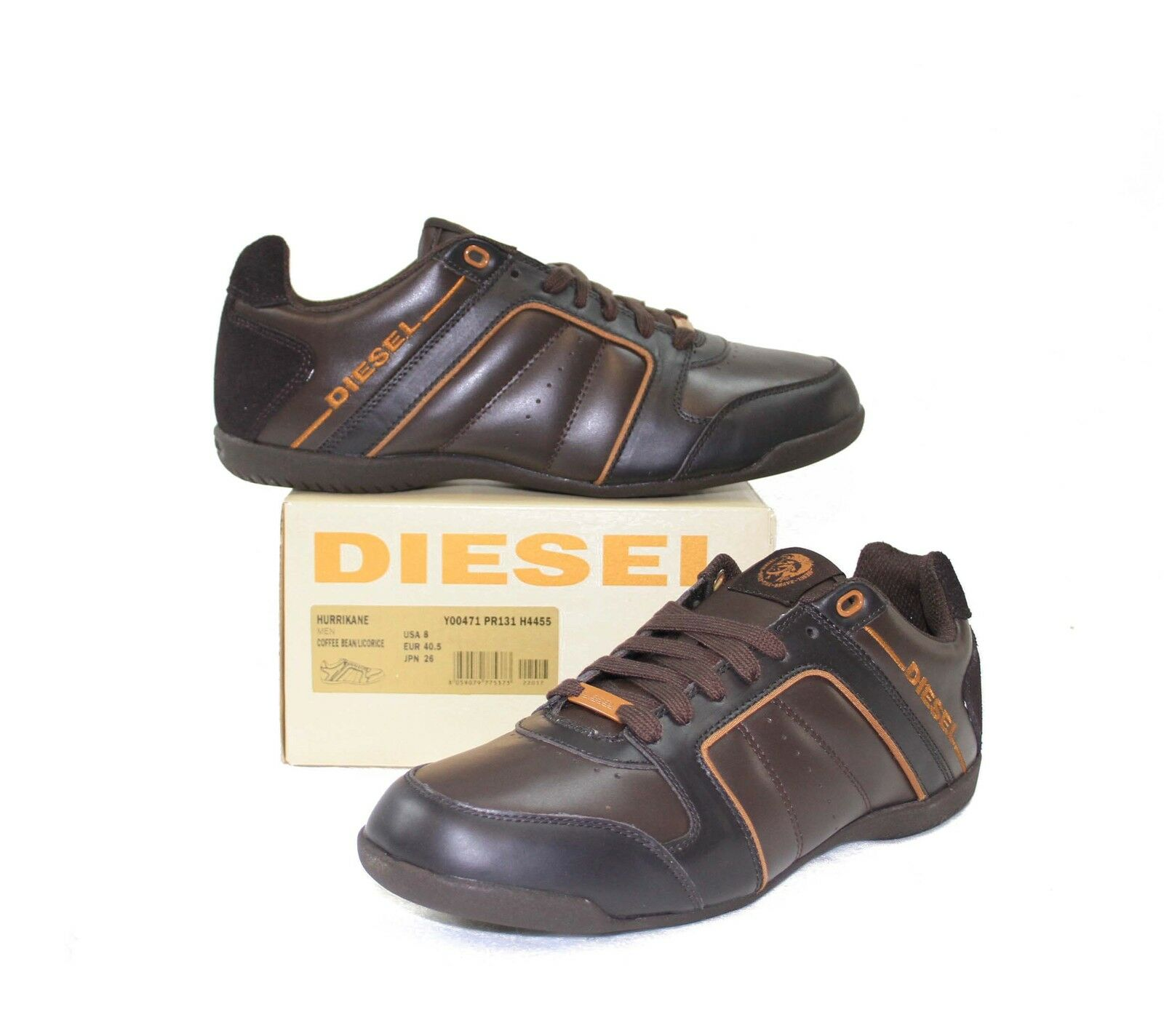 NEW DIESEL  Brand Men's Hurrikane Brown Yellow Leather Fashion shoes Sneakers