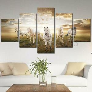 ... 5Pcs Running Horse Abstract Picture Canvas Painting Art
