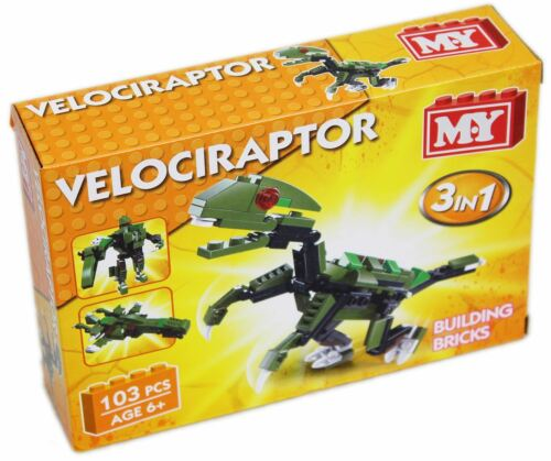 Mon bâtiment de briques dinosaure 3 En 1 Construction Set ~ Velociraptor