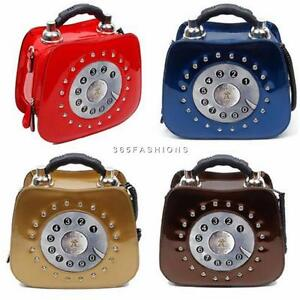 STATEMENT-CUTE-FAUX-LEATHER-CRYSTALS-RETRO-3D-DETAIL-TELEPHONE-TEXTURED-HANDBAG