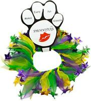 Mardi Gras Elastic Dog Collar Kissing Smoocher Scrunchie Tie Dog Pet Costume