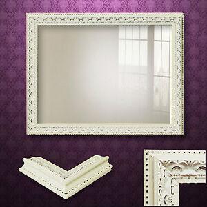 Specchio parete shabby chic cornice con effetto invecchiato spazzolato crema vintage ornata - Specchio shabby chic ...