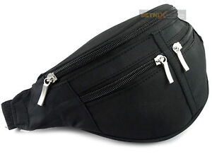 BLACK-Waist-BUM-BAG-fanny-pack-travel-GOOD-quality-4-zips-Mens-Ladies-Unisex-NEW