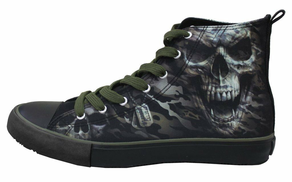 Spiral Direct - CAMO - SKULL - Mens High Top Lace Sneakers   Rock, Extreme Sport